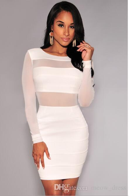 Sexy Bandage Dress New Winter Black White Dress Long Sleeve Mesh Patchwork Hollow Out Pencil Bodycon Dress Female