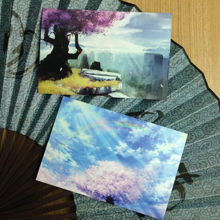 8 Estilo cómico Flores de cerezo El libro de postales de Ryhthm of Life Conjunto / Tarjeta de felicitación Surtido / Tarjetas de cumpleaños