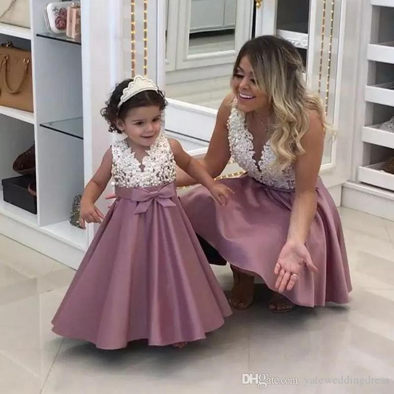 White And Blush Pink Flower Girl Dresses Plunging Lace Applique