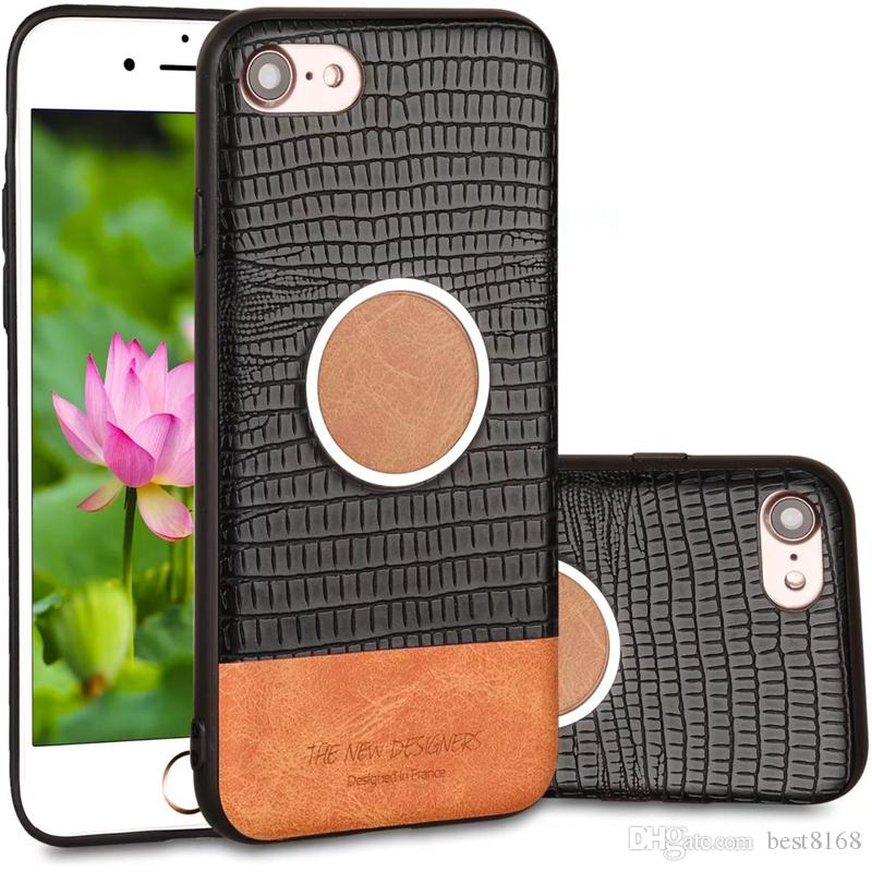 Car Holder Stand Magnetic Suction Hybrid Crocodile Leather Soft TPU Case For Iphone X 8 7 Plus 6 6S Galaxy Note 8 S8 Plus Croco Skin Cover