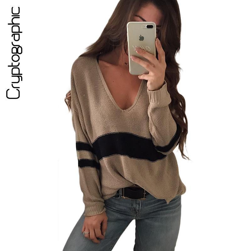 2018 Cryptographic V Neck Casual Striped Female Sweaters Jumper Pullovers  Autumn 2017 Loose Knitted Sweater Winter Knitting Clothing From Vanilla15 1d4057c92