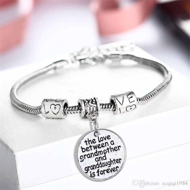 قلب سوار الفضة مطلي قلادة الحب بين الأسرة الأم وابنتها أساور هدية عيد الأم مجوهرات أساور الإسورة