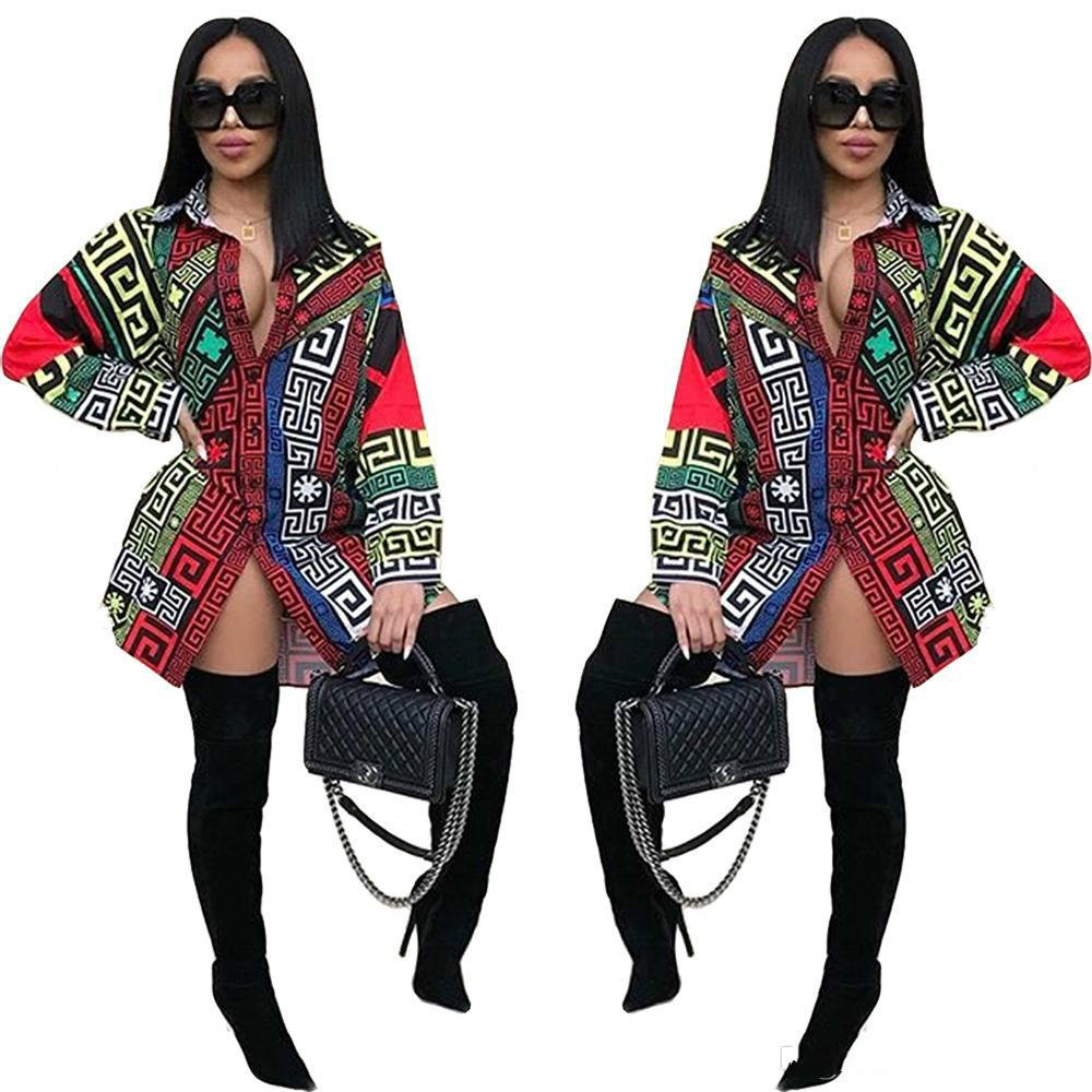 Promotion New Products Perspective Dress Women Long Sleeve Casual Shirt Dress Party Dresses Woman Retro Print Dress Vestidos Womens Tunic