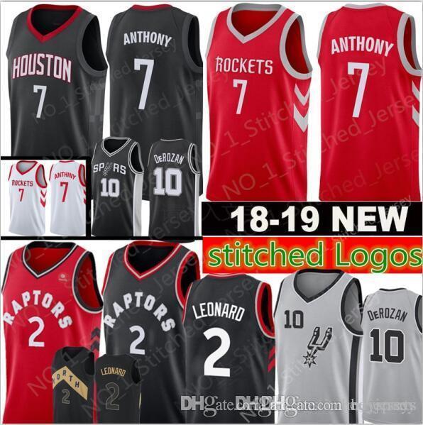 8a31309da49 2018 New 2 Kawhi Leonard 7 Carmelo Anthony 10 Demar DeRozan Jersey Mens  2018 2019 Toronto Raptors Houston Rockets San Antonio Spurs Jerseys 5 From  Heysports ...