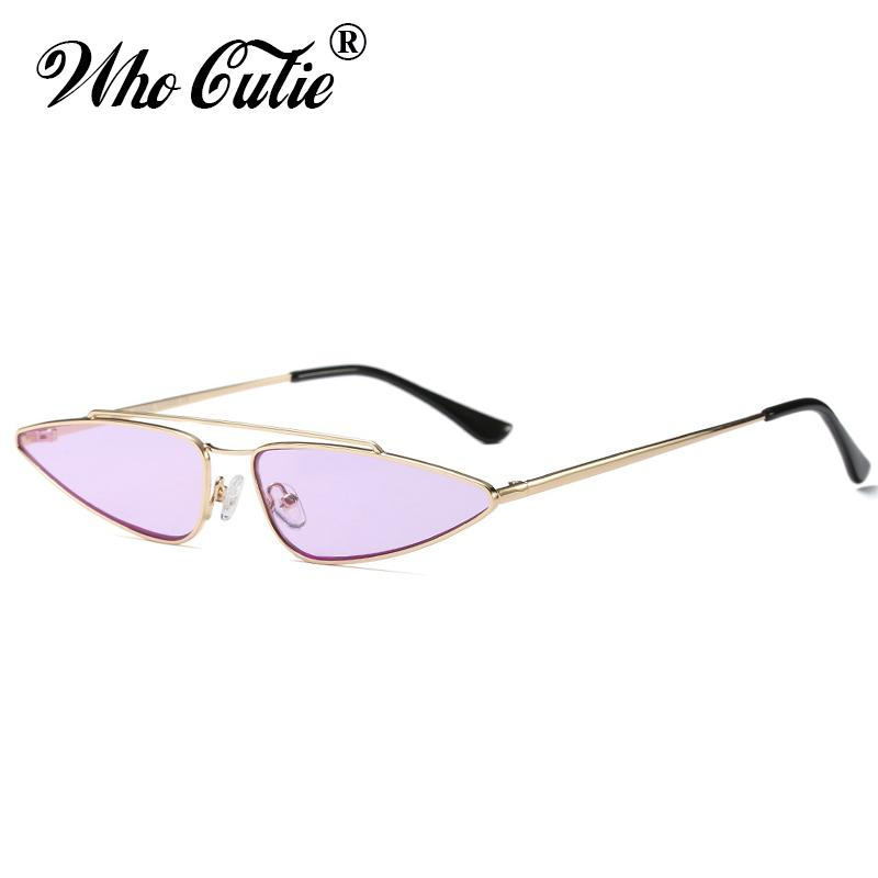 80c0d6b827d WHO CUTIE 90s Slim Sharp Cat Eye Retro Sunglasses Women Brand Designer 2018  Vintage Pink Yellow Red Lens Sun Glasses Shades 560 Sunglasses For Women  Cat Eye ...