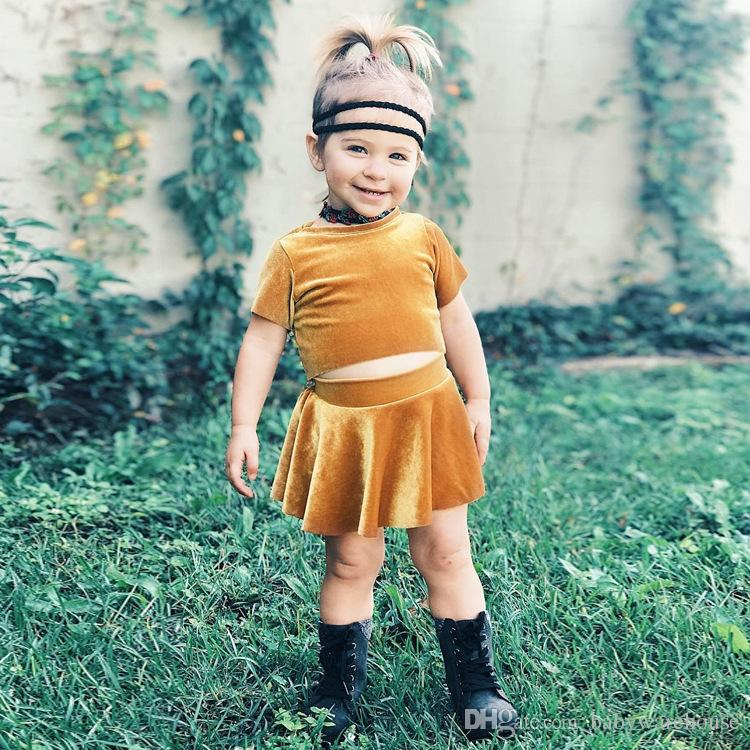 a37868aab2c 2018 Fashion Kids Girls Clothing Sets Baby Girl Velvet Crop Top T-shirt +  Skirt 2PCS Baby Outfits Set Infant Toddler Girls Clothes Summer