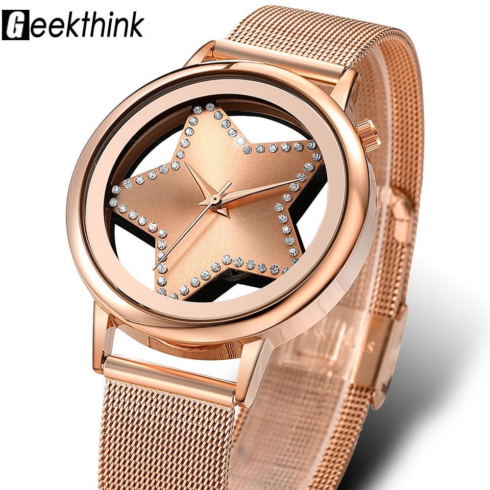 Compre GEEKTHINK Lujo Reloj De Cuarzo Mujeres Moda Estrella De Acero  Rhinestone Hueco Analógico Redondo Relogio Relojes Mujer Diseñador Reloj De  Pulsera A ... bb7a802f47cd