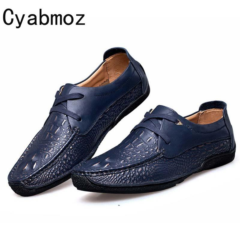 d737597d0c31c2 Cyabmoz Brand Men Genuine Leather Shoes Vintage Crocodile Pattern Casual  Zapatos Male Walking Shoe Fashion Flats Lace Up Oxfords Designer Shoes High  Heel ...