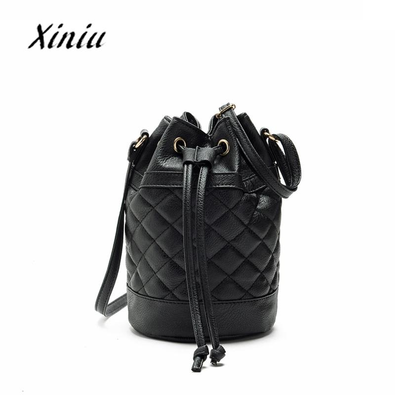a84912da9d13 Designer Women Handbag Female PU Leather New Fashion Women Leather Quilted  Handbag Bucket Shoulder Messenger Bag Tote Satchel Cheap Designer Handbags  Black ...