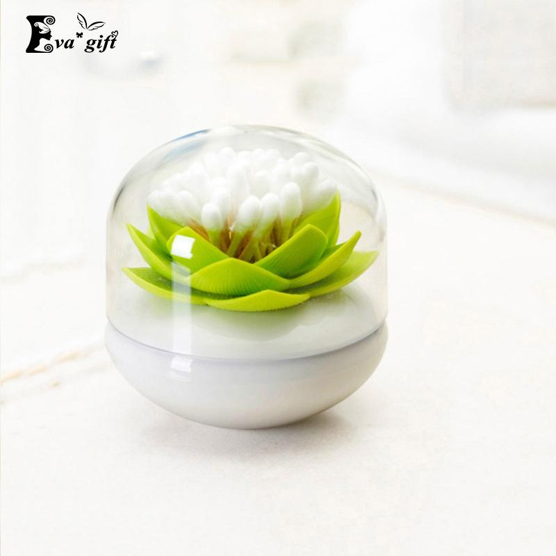 Small Lotus Swab box cotton PP Swab case Creative storage box home Toothpick organizer storage jar with cover Xmas gift