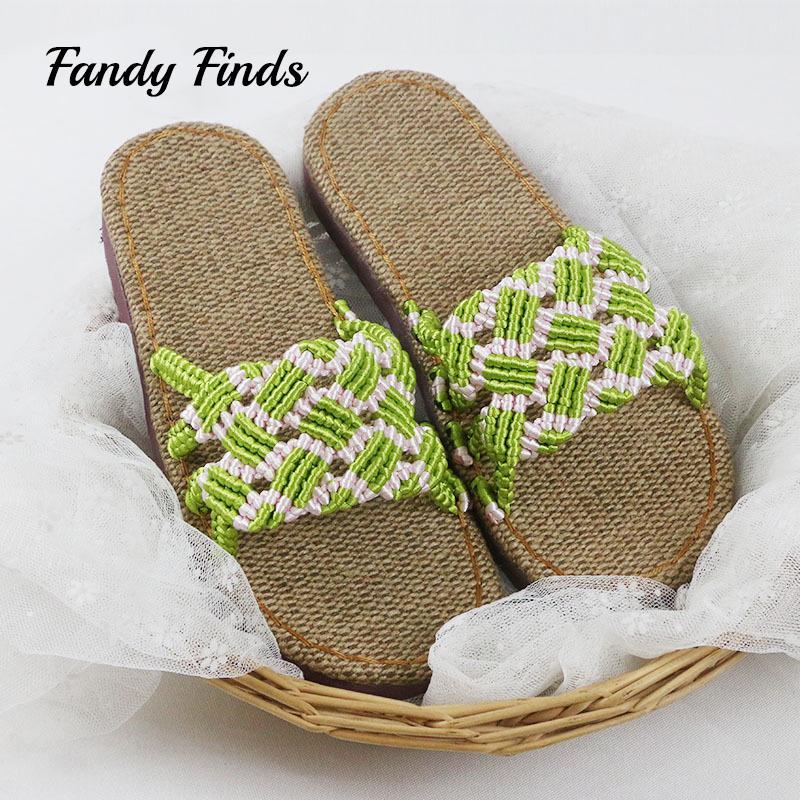 1ac809d693f1e Fashion Women Beach Summer Slippers Handmade Woven Wedding Flat ...