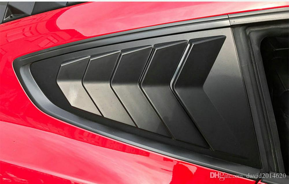 For Ford Mustang 2015 2016 2017 Car Side Window 1 4 Scoop Louver Cover Pair Black Auto Styling Mouldings Free Shipping