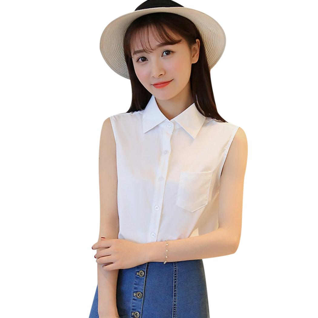 acf54c0984feb4 2019 Fashion Summer Sleeveless Shirt Blouse Women Office Lady Style Shirts  Turn Down Collar Blusas Femme Solid Casual Tops Female F3 From Yanmai
