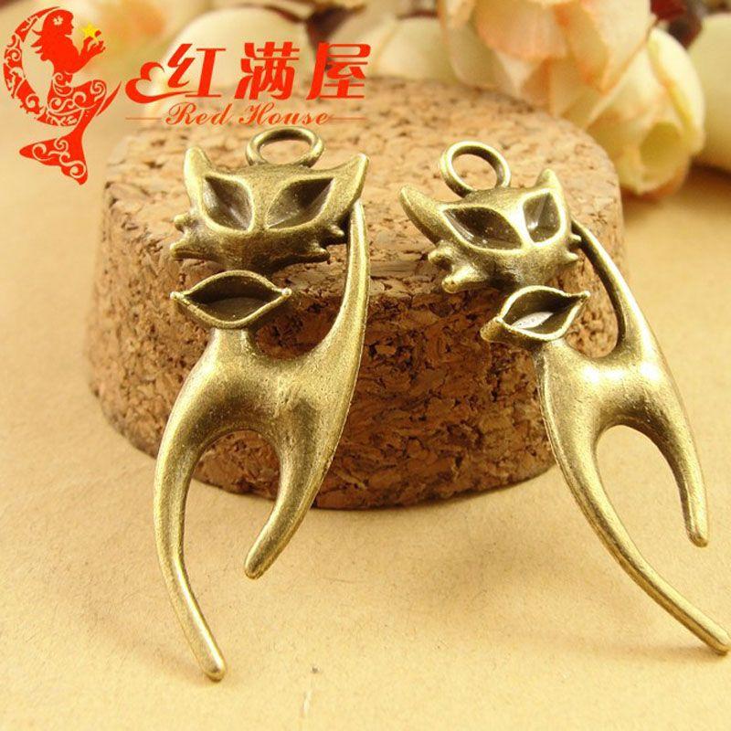 A3655 13*37MM Antique Bronze Vintage Retro accessories small fox charm pendant beads nation, DIY animal pendant, animal shaped jewelry