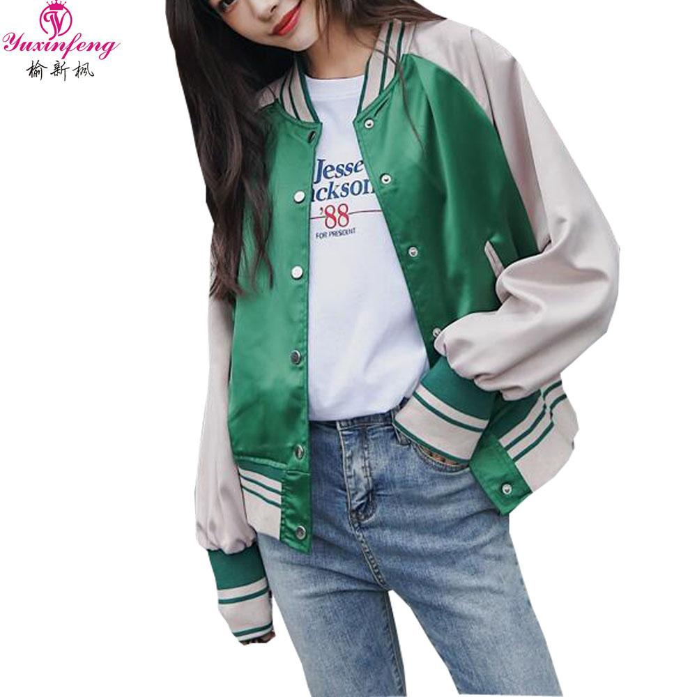 Acquista Yuxinfeng 2018 Fall Zipper Basic Jacket Donna Nuovo Stile Coreano  A Righe Patchwork Bomber Donna Casual Streetwear Outwear A  58.17 Dal  Vanilla01 ... 0783d9e1111