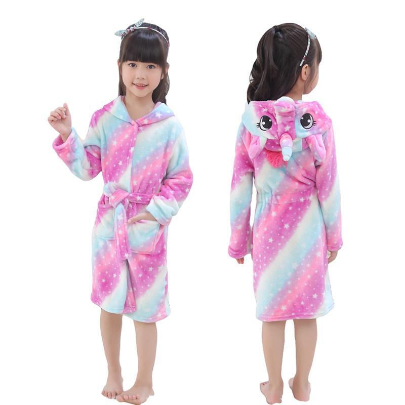b2d5af797127b Kids Robe Girl Unicorn Bathrobe Hooded Bath Towel Fleece Sleep Robe Unisex  Animal Sleepwear Dressing Gown Nightwear Boys Clothes Y18103008 Holiday  Pajamas ...