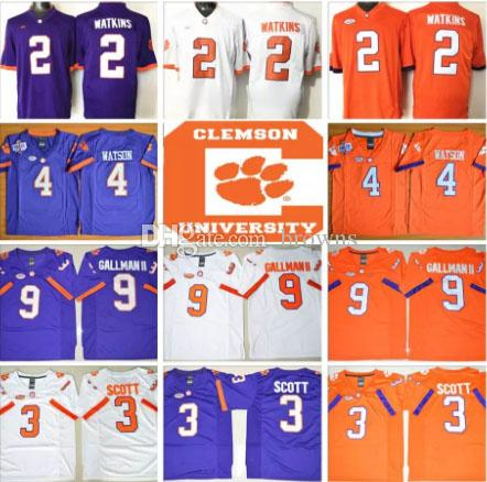 66e624a6af1 NCAA PATCH Clemson Tigers College Mens Stitched DeShaun Watson Mike  Williams Boulware Scott Gallman II White Purple Football Jerseys NCAA  Football Jerseys ...