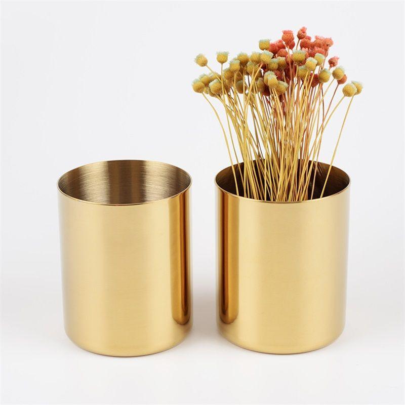 Nordic Style Brass Color Vase Round Rose Gold Desktop Pen Container Living Room Minimalism Flower Arrangement Ornament 27cy Ww