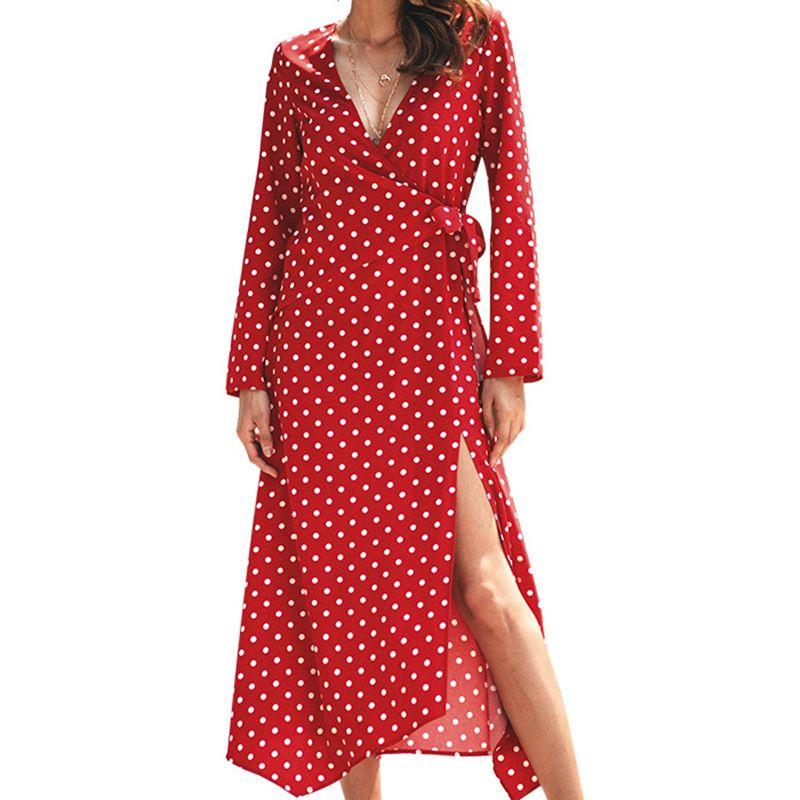 cc5f2c4f89706 Vintage V Neck Sexy Polka Dot Dress Autumn Women Party Split Sashes A Line  Dresses Boho Femme Bandage Mid Calf Dress Mujer M0157 Designer Party  Dresses Plus ...