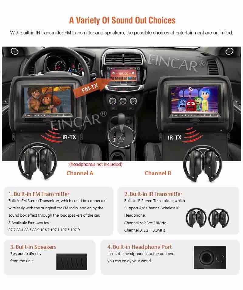 EinCar Siyah 2 X Ikiz Araba DVD kafalık oyuncu 9 '' HD Dokunmatik anahtar FM 32 Bit Oyunları MP3 çift Monitör çift Ekran