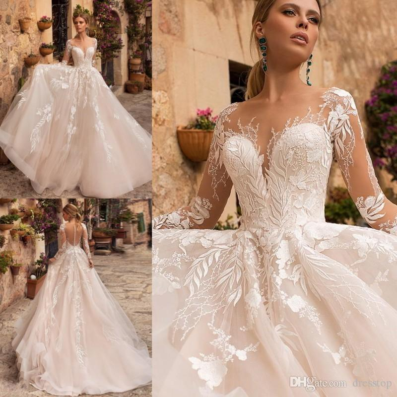 d677b7dd54e Discount Naviblue 2019 Wedding Dresses Sheer Neck Long Sleeve Lace Bridal  Gowns Robe De Mariée Middle East Custom Beach Wedding Dress Latest Bridal  Gowns ...