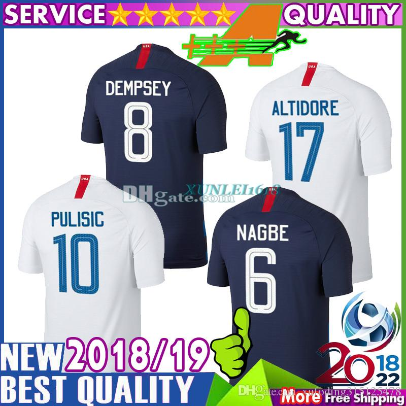 208648921 2019 Top Thai Quality 2018 United States Soccer Jerseys PULISIC White Shirt  Dempsey YEDLIN BRADLEY America National Team 18 19 Football Shirts From ...