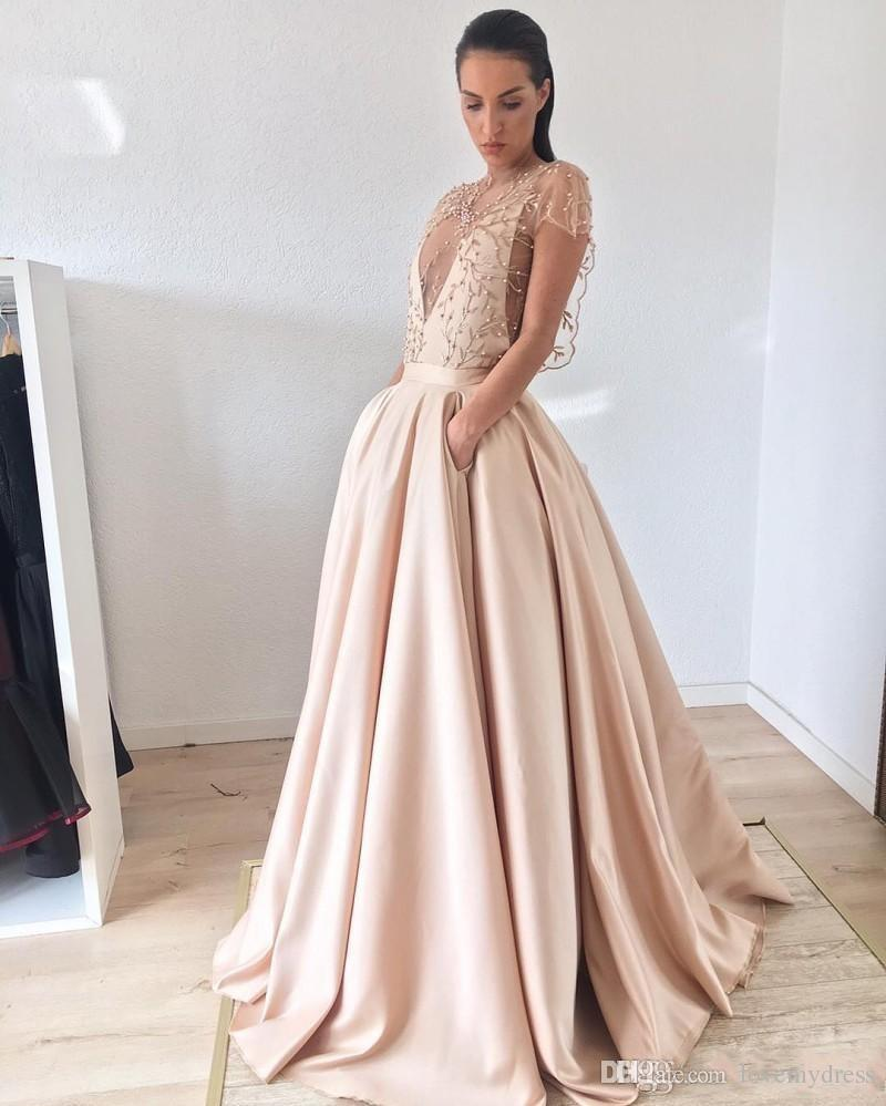 31fb32ca13 Light Champagne Prom Dress 2018 New With Pockets Satin A Line Short Sleeves  Unique Neckline Pearls Red Carpet Evening Formal Gowns Dresses Prom Dresses  For ...