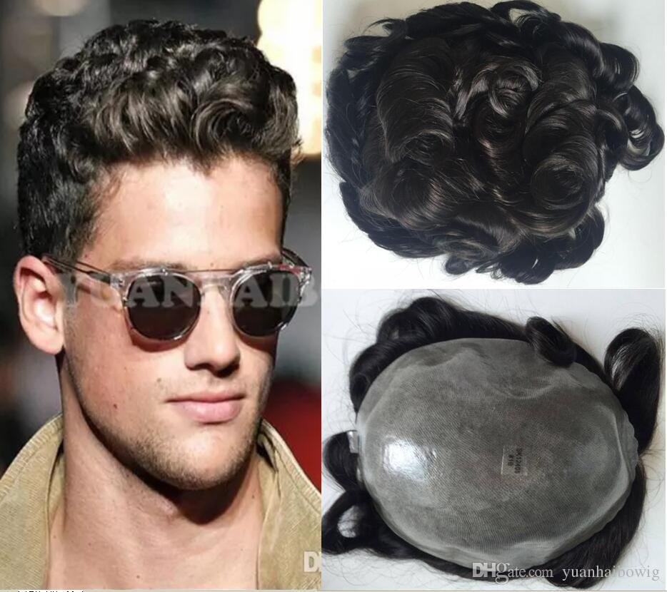 Stocked Mens Toupee Super Full Thin Skin Human Hair Replacement for Men 32mm Wave Toupees DHL Fedex TNT fast express