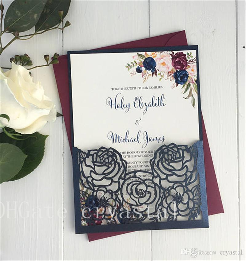 2018 elegant laser cut wedding invitation floral wedding card navy