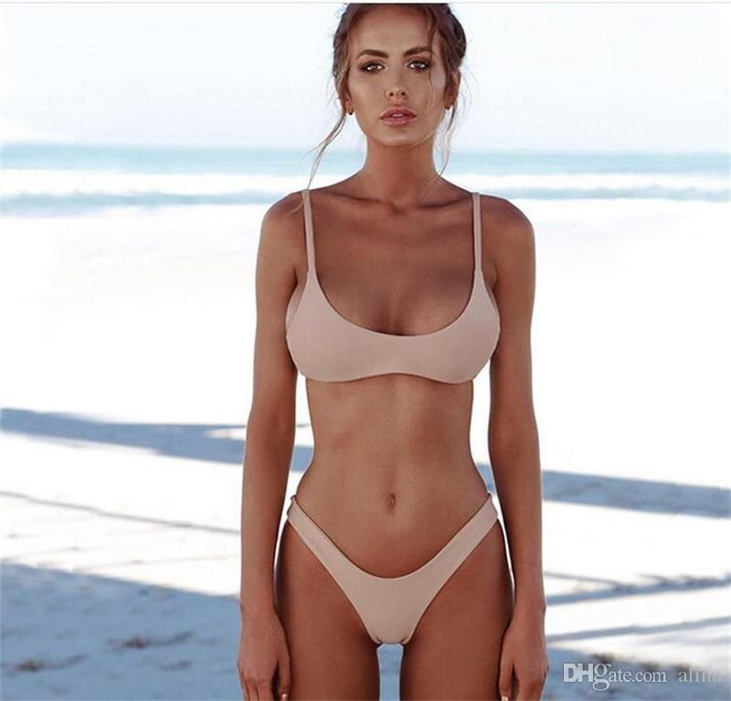 0896c1317f0b6 2019 2018 New Summer Swim Wear Women Solid Bikini Set Push Up Unpadded Bra  Swimsuit Swimwear Triangle Bather Suit Swimming Suit Biquini From Alina