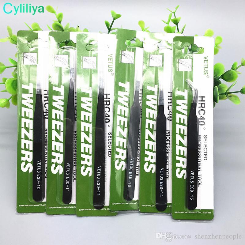 Cell Phone Repair Tools Black VETUS Tweezers Stainless Steel Antistatic Nipper ESD 10 11 12 13 14 15 Straigtht And Curve