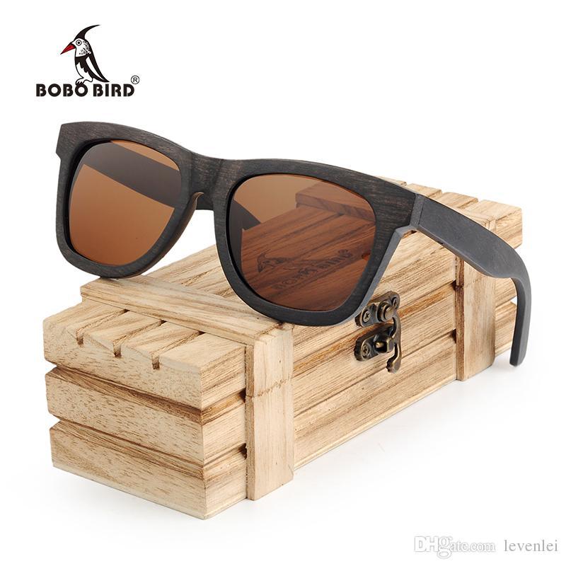 aa0ea9aa43b4a Compre BOBO PÁSSARO Óculos De Proteção Contra Os Olhos Polarizados Homens  Clássicos Óculos De Sol Ébano Madeira Frames Óculos Mulheres Óculos De Sol  Bolsa ...