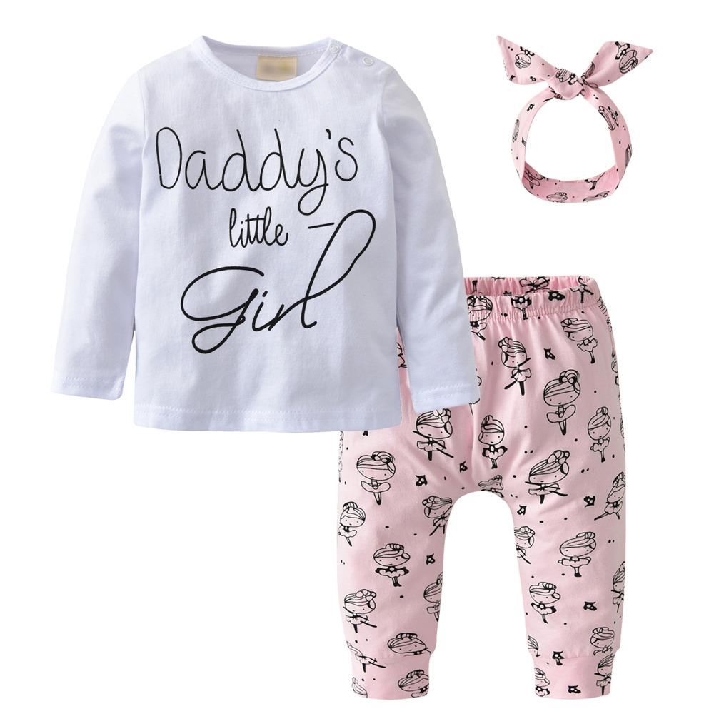 3b384f6d Baby Girls Clothing 3Pcs Set Toddler Letter Daddy's little Girl Tops Long  Pants Leggings with Headband Infant Newborn Clothes