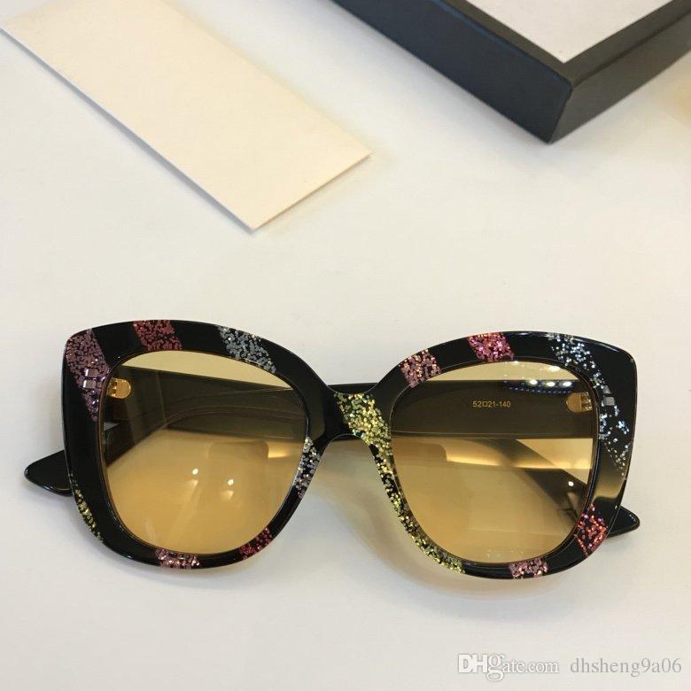 c1c8a491d90c8 Compre 0327s Olho De Gato Óculos De Sol 80 S 90 S Glitter Stripe Moda Óculos  De Marca De Luxo Das Mulheres Designer De Acetato Quadro De Alta Qualidade  ...