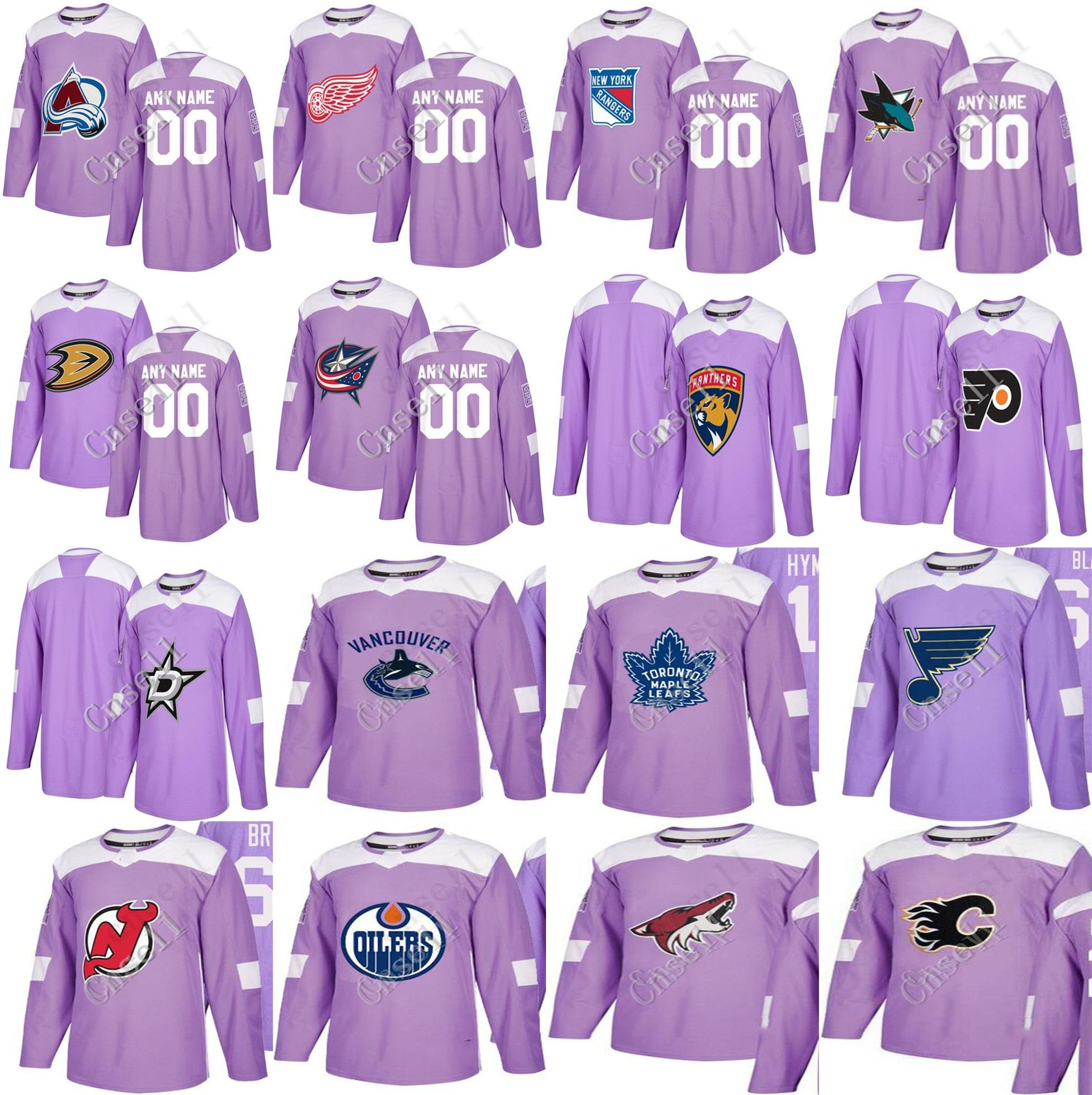 766346bce03 2019 2018 Purple Fights Cancer Practice Jersey Detroit Red Wings Colorado  Avalanche Anaheim Ducks Oilers Sharks Philadelphia Flyers Hockey Jersey  From ...