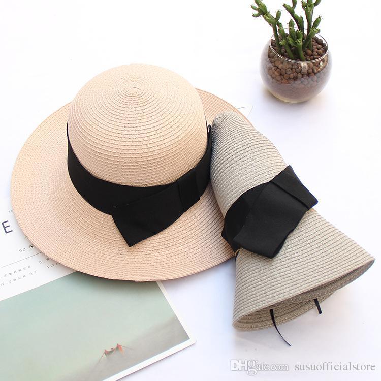 Acquista Summer Floppy Beach Cappelli Di Paglia Con Cappelli A Tesa Larga  Con Protezione UV Da Arco Le Donne A  32.08 Dal Susuofficialstore  45e48e273815