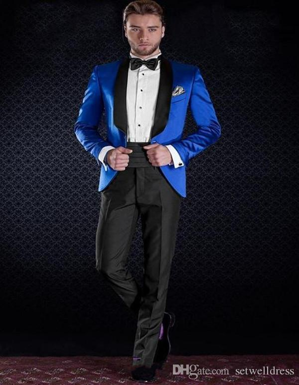 Slim Fit Royal Blue Groom Tuxedos Black Shawl Lapel Best Groomsmen Suit Custom Made Cheap Mens Wedding Suits Jacket+Pants+Tie