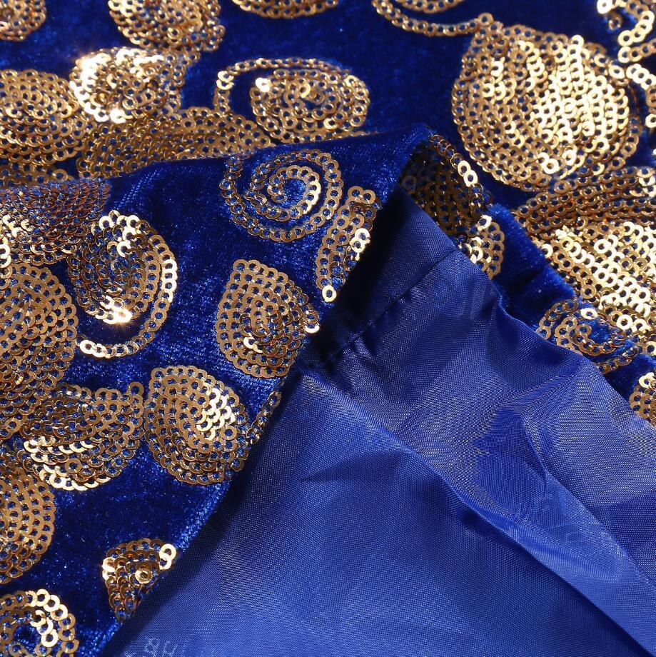 PYJTRL Erkekler Şık Şal Yaka Kraliyet Mavi Kadife Slim Fit Blazer Artı Boyutu 5XL Altın Çiçek Sequins DJ Şarkıcı Düğün Suit Ceket