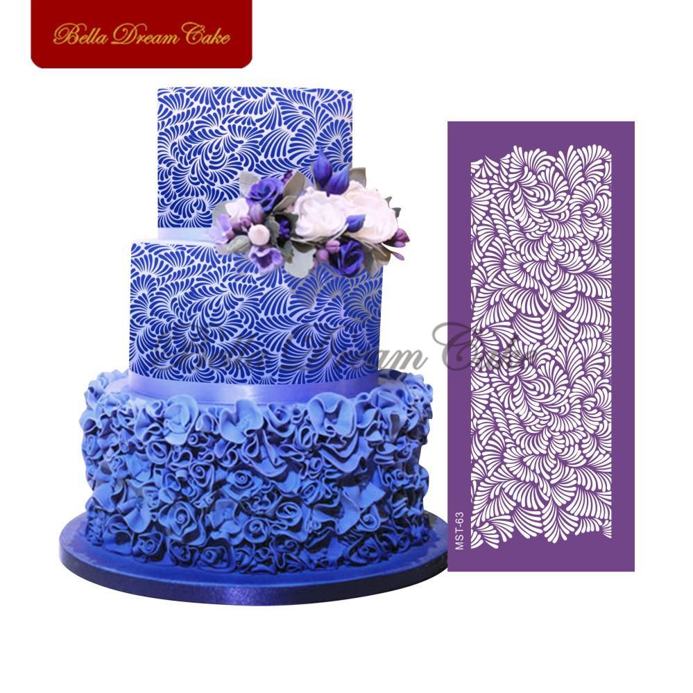 2019 Fanfare Pattern Lace Mesh Stencil Wedding Cake Lace Moulds Cake