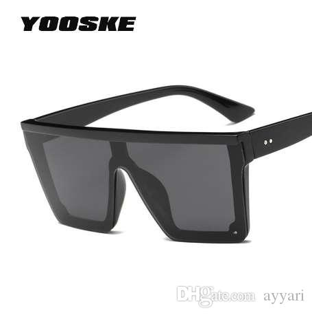 60487440174 YOOSKE Oversized Sunglasses Men Vintage Brand Driving Sun Glasses Women  Flat Top Big Frame Sunglass Retro Siamese Eyewear UV400 Designer Glasses  Sunglasses ...