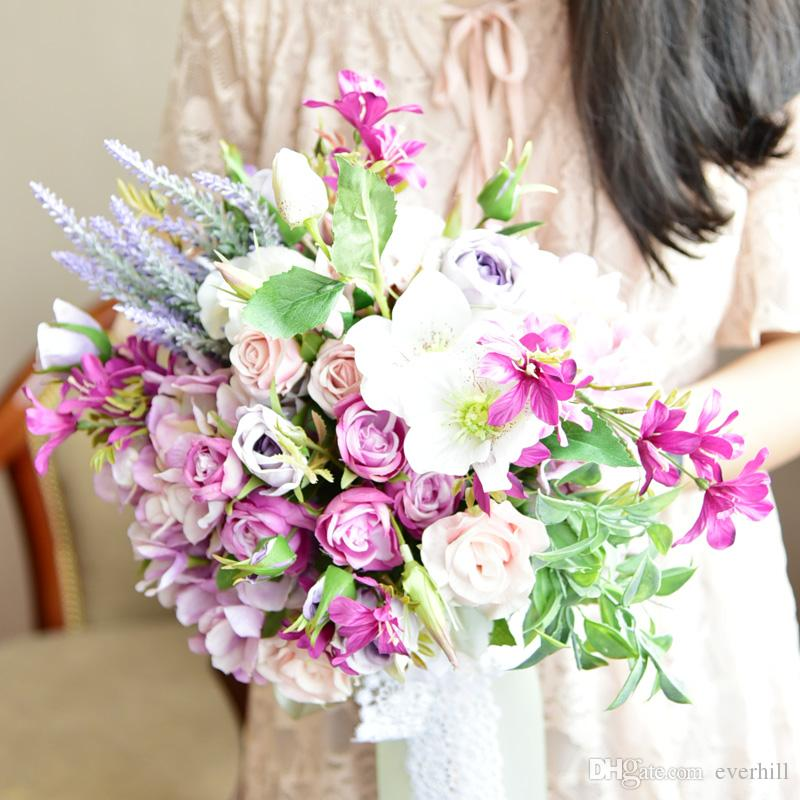 JaneVini 2018 Heart-Shaped Purple Wedding Bouquet Artificial Bridal Flowers Lace Ribbon Bride Bouquet Bridesmaid Rose Brooch Handmade