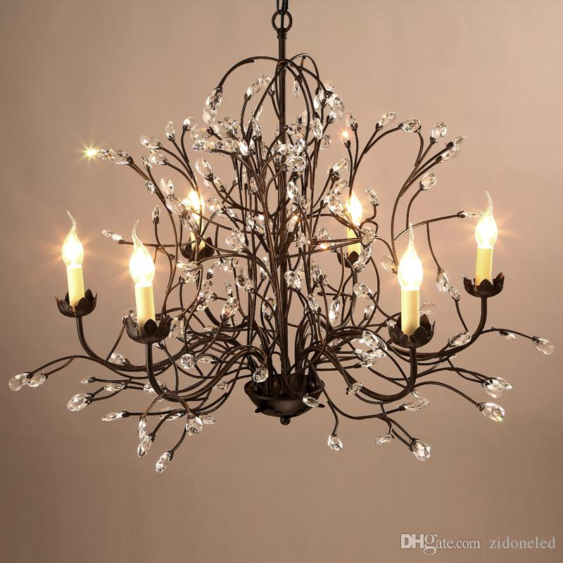 led chandelier light fixtures iron crystal pendant lights 8 heads black chandeliers home decor American village style