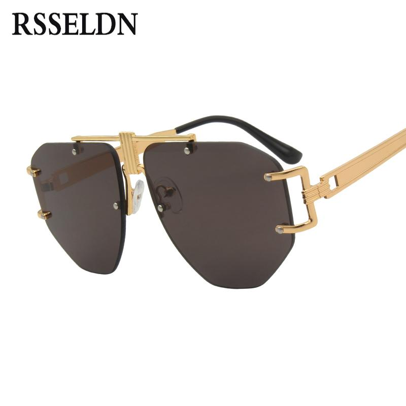 d246facf299 RSSELDN Oversized Rimless Sunglasses Women Men 2018 Brand Designer Metal  Frame Brown Yellow Punk Sun Glasses Female Retro UV400 Sunglasses Cheap  Sunglasses ...