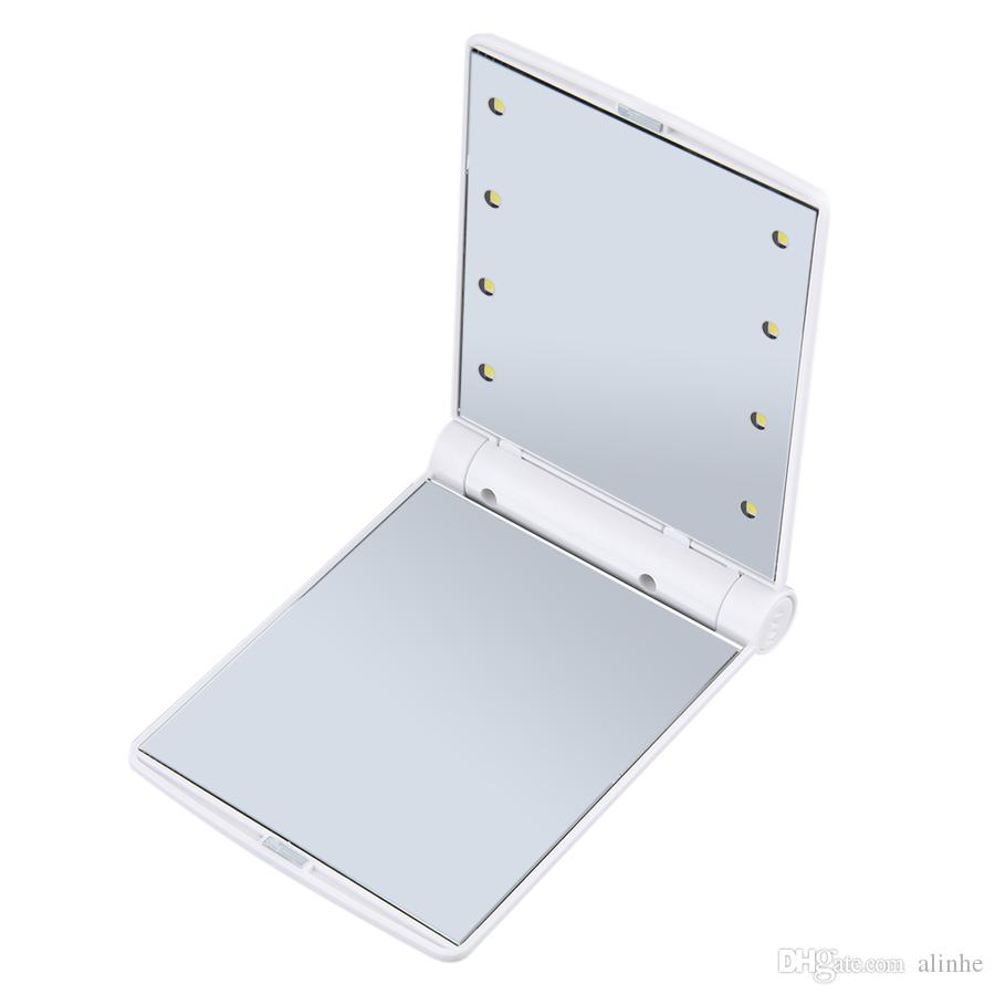 8Led Makeup Mirror Lady Makeup Cosmetic Folding Portable Compact Pocket Mirror 8 LED Lights Lamps DHL