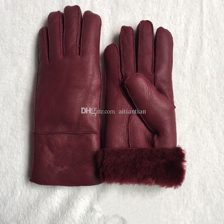 Бесплатная доставка - высокое качество женская мода случайные кожаные перчатки тепловые перчатки женские шерстяные перчатки в различных цветах