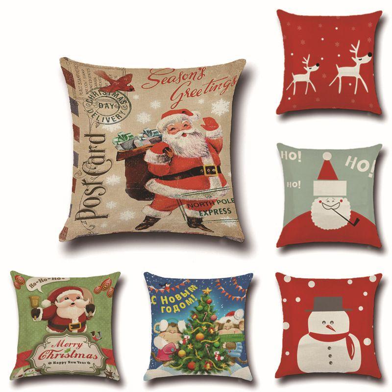 christmas pillowcase coreless linen sofa cushion cover christmas pillow case without core linen sofa cushion cover customized oversized outdoor pillows - Christmas Outdoor Pillows