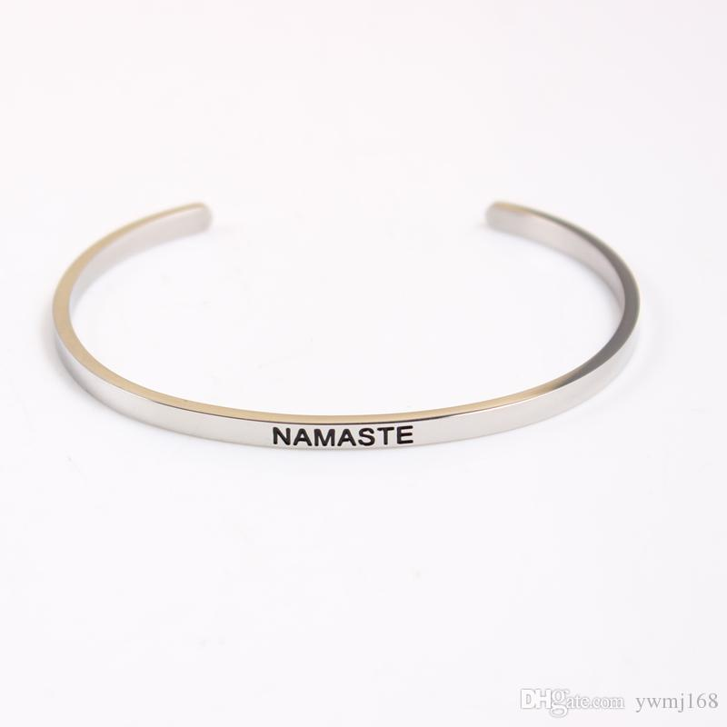 2018 New Stainless Steel Engraved Positive Inspirational Quote Hand Stamped Cuff Mantra Bracelet Bangle For Women Best Gifts