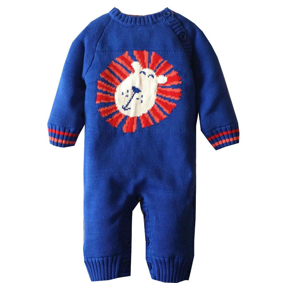 c2d7c6e3dacb 0-18M Knitted One-pieces Cotton Baby Winter Romper Long Sleeve Thick ...