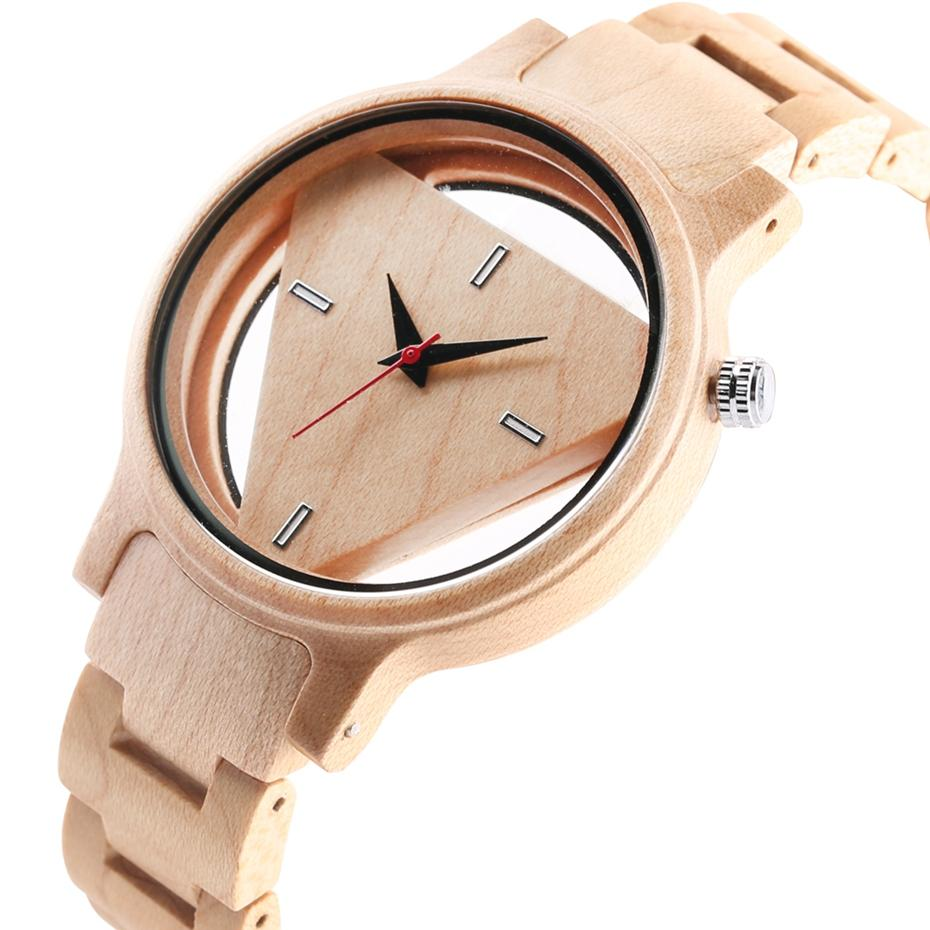 389cf5d6104e Wood Watches Men Creative Hollow Triangle Simple Bamboo Wooden Wrist Round  Dial Watch Quartz Analog Clock Gift Reloj Para Hombre Prestige Watches  Bling ...