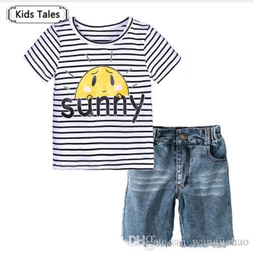 9ec491f27eb 2019 ST378 Boys Clothes Summer Children Short Sleeve Sunny T Shirt +Jeans  Girls Beach Sets Kid Cotton Children Sets Children Clothing From  Wangjiahao